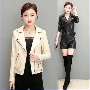 Female Black Red White Punk Bomber Leather Outwear with Belt Spring Autumn Women Leather Jacket Zipper Belt Short Coat Woman