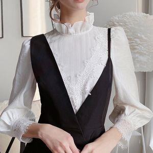 Women's Blouses & Shirts Dabuwawa Ruffle Collar Sleeve Lace Trim Women Elegant Embroidery Solid Tops Female Fashion DN1CST027
