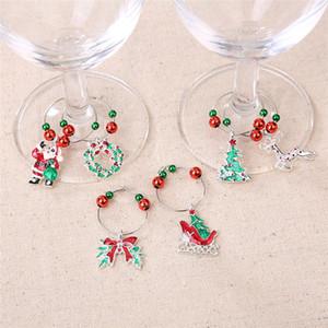 Natale Tazza Vino Recognizer 6 pc / etichetta di vino di vetro Xmas Ornament Occhiali Marker di Santa Xmas Tree Decoration bottiglia di vetro