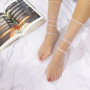 1pair Sexy Dot Lace Socks Mulheres transparentes malha meias senhoras Ultra-Thin Princesa Tulle Meias Feminino Meias