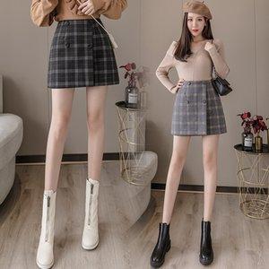 2020 automne et en hiver Nouveau style coréen A- LINE pantalon et un pantalon à carreaux double boutonnage hiver jupe A- pantalon femmes jupe robe de ligne U