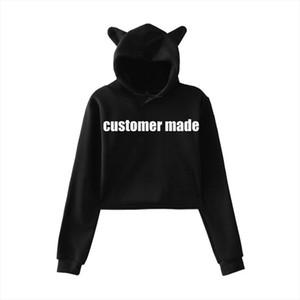 CUSTOMIZE LOGO design Cat Ear Cropped Top Hoodies sweatshirts kpop Sexy streetwear Harajuku clothes CUSTOMIZE MADE 8802 WY15