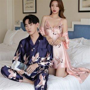 Início iZ7fu online vermelhas primavera e pijamas roupas de verão simulado novo casal Início manga longa imitação de seda cardigan moda wea guindaste VCCF5