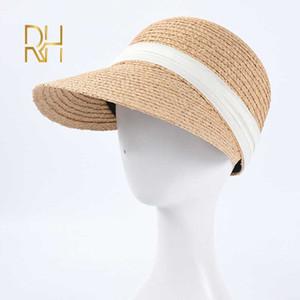 Caps Natural rafia béisbol para Sun cinta Negro Cap Mujeres visera del verano de diseño señoras al por mayor suave paja Caps RH