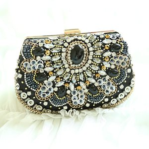 Fashion Handmade Embroidered Beads Evening Bag Vintage Clutch Personal Shoulder Crossbody Bag Business Casual Party