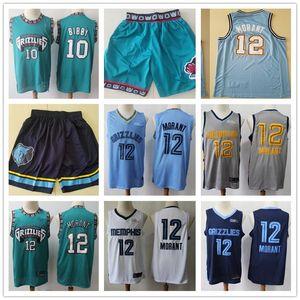 Mens Memphis.Grizzlies.Jersey Bryant 50 Reeves Mike 10 Bibby Ja 12 Morant Basquete Shorts Basquetebol camisas verdes azuis