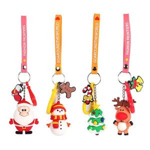 Decoração de Natal Papai Noel dos desenhos animados da rena Keychain bonito da chave do carro do presente pendant