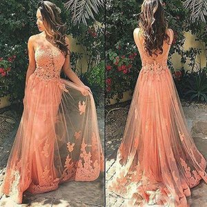 New Illusion Evening Dress Applique Backless Peach vestidos largo Islamic Dubai Elegant Long Evening Gown Prom Dress