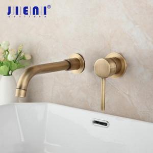 Jieni Antique Brass aus massivem Messing Badezimmer-Hahn-Verbindungs-Rohr-Wand befestigter Badewannen-Dusche-Hahn-Mischer-Hahn-1 Griff