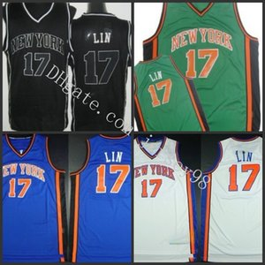 New YorkKnicksMänner # 17Jeremy Lin Revolution30 Swingmanjerseys All Black mitNBA Weiß Jersey