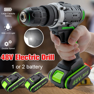 48V Brushless Cordless Electric Impact Drill 25-28Nm Torque Electric Drill Rechargeable Home Garden With 1 or 2 Li-ion Battery