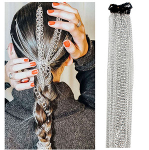 50 cm langes Haarverlängerung Zubehör für Mädchen Frauen Styling Werkzeuge Aluminium Vedding Braut Haargeflecht Scrunchie