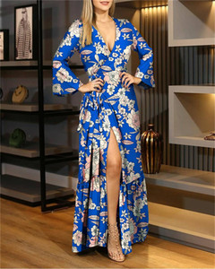 Dropshipping Womens Floral Dress with Sashes Sexy Deep V Neck Split Dress Spring Autumn Vestidos De Verano Clothing
