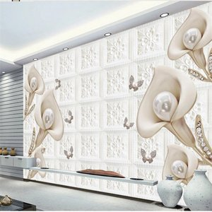 New product embossed calla lily soft wrap background wall wallpaper for walls 3 d for living room