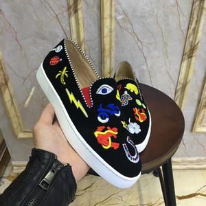 Designer Mens delle donne Scarpe Uomo Rosso Rivetti fondo in cuoio delle scarpe da tennis Tenis Masculinos Sepentine modello piatto pattini casuali della piattaforma Esecuzione