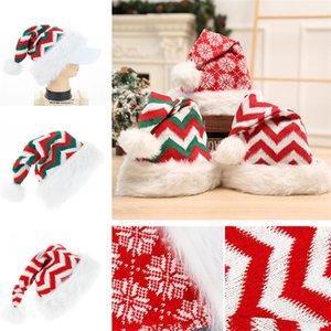 En ucuz Noel Peluş Şapka Örme Uzun Zımba Çizgili Yetişkin Kırmızı Noel Baba Noel Yün Parti Şapkası Noel Süsleri Hediye 120pcsT1I2342