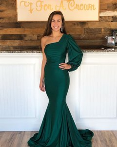 Elegant Green Mermaid Evening Dress One Shoulder Long Sleeve Satin Simple Party Prom Dresses With Back Zipper Customize Evening Gowns
