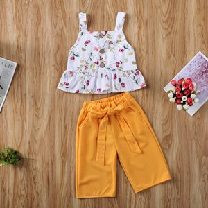 Novel Summer Toddler Girls Children Sleeveless Summer Floral Printed Sling Tops Solid Medium Trousers 2PC Kids Suit Clothes 624
