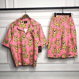 Sistema del desgaste del sueño 2020 Drew House Camisetas de manga corta Hombres Mujeres Parejas Hip-hop de gran tamaño Simplemente Bieber dibujó Camisa del oso
