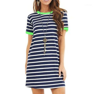 Sexy Womens Dresses Contrast Color Short Sleeve O Neck Ladies Dresses Summer Casual Female Dress Striped