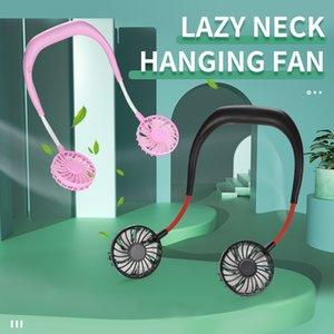 3 file wind speed kid toys Small electric fan 2020 hot selling hang neck type two headed electric fan Lazy Neck Hanging Fan