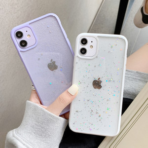 Doces cores Glitter Estrelas Phone Cases para iPhone 11 Pro Max XR X XS 7 8 Plus caso do iPhone SE para 2020 brilhante Limpar Back Cover