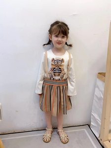 Kız Marka Elbise Yüksek Kalite Kız Bebek Giyim Bir Çizgi Kız Giydirme Prenses Giydirme vestidos Ücretsiz Kargo