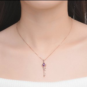 Hot Sale 925 Sterling Silver Key Pendant Necklace for Women Natural Teardrop Crystal Silver Jewelry Rose Gold Color Valentine's Day Gifts