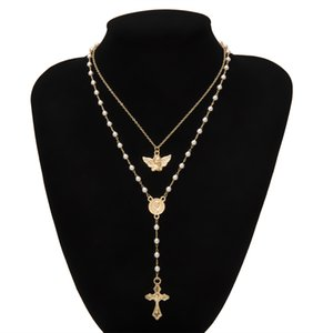 Hip Hop Tassel multilayer Women Cross Pearl Necklace Punk Simple Party Body Jewelry Wholesale