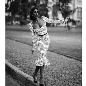 polka d'automne de femmes noires à manches longues dot bureau mince avec une robe en queue de poisson collier de mot (sans ceinture) Y200103 collr fishtil o zAEt #