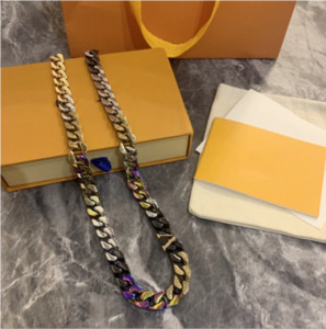 Man Necklace stitching color modeling chain necklaces polished enamel crystal chain link necklace hip hop trend charm necklace