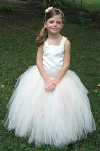 Cheap Ivory Flower Girl Dresses for Weddings Tulle Floor Length Girls Pageant Dress Lace Up Birthday Ball Gowns with Strap