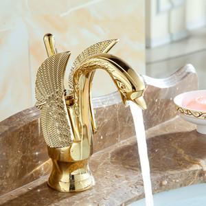 Bacia Torneiras New Design Cisne Faucet banhado a ouro Wash torneira Bacia Hotel de Luxo de cobre e ouro torneiras misturadoras quentes e frios torneiras