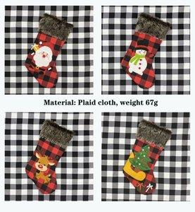 2020 Санта-Клауса подарок мешок рождественские носки подарок мешок рождественские украшения покрывают кулон Elk елки клетчатую ткань