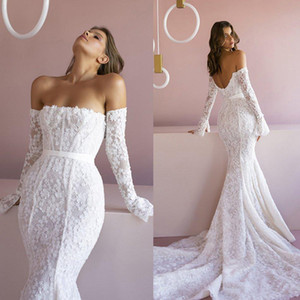 Pallas Couture Mermaid 2020 Wedding Dresses Lace Appliqued Off The Shoulder Long Sleeve Beads Bridal Gowns Sweep Train Wedding Dress