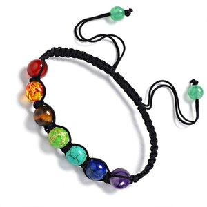 7 Chakra 8mm Korn-Stein-Armband Gebet Gleichgewicht Bunte Regenbogen-Healing Reiki Perlen Yoga Energie Chakras Wove Weinlese-Armband Schmuck