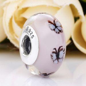 Orijinal Beyaz Kelebek Lampwork Pembe Murano Cam Boncuk Fit 925 Gümüş Boncuk Charm Pandora bilezik Bileklik DIY Takı