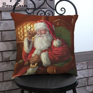 1PC 45*45cm Christmas Square Pillow Cover Linen Cute Oil Painting Santa Claus Printed Pattern Waist Throw Pillow Cover