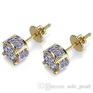 Hiphop Stud earrings for women men 2018 new Luxury boho white Zircon Dangle earrings gold silver plated Vintage geometric Jewelry wholesale