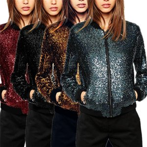 European and American fashion ladies designer jacket casual sports style full sequin baseball uniform women's clothes 4-color versatile casu