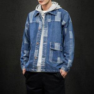 iiDossan Autumn Men Japanese Harajuku Coat Denim Jackets Men Casual Jeans Patchwork Vintage Denim Fashion Coat HipHop Tops