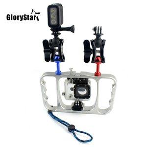 De braço duplo mergulho Dive Bracket lanterna Bandeja Estabilizador de montagem para Gopro Sony SJCAM ação da câmera / Smartphone Peças