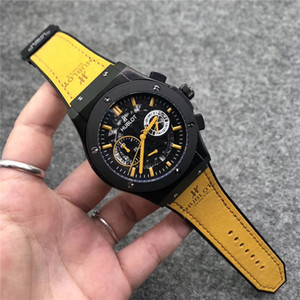 Mens de quartzo designer de relógio reloj de lujo assistir couro multifuncional de discagem de aço inoxidável alça automáticos data homens esportes montre de luxe