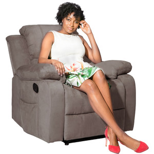 US-Lager, Oris-Fell. Wildleder beheizte Massage Recliner Sofa Chair Ergonomische Lounge mit 8 Vibrationsmotoren PP039116AA