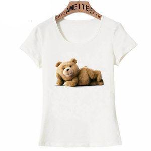 New Summer Women t-shirt Lovely Teddy bear Print T-Shirt Funny Be'a'r Lovers casual Tops Novelty Tees Cute girl short sleeve