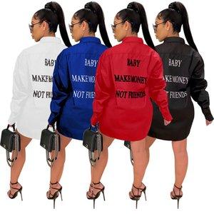 Street Style femmes Chemisier Mode GAGNER DE L'ARGENT PAS UN AMI Lettre à manches longues en vrac Chemisier Casual Top Automne Vêtements femme