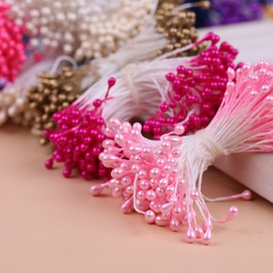 300pcs Multi colors Pearl Stamen Sugar Handmade Artificial Flower For Wedding Decoration DIY 3mm Stamen Pistil Floral C0924