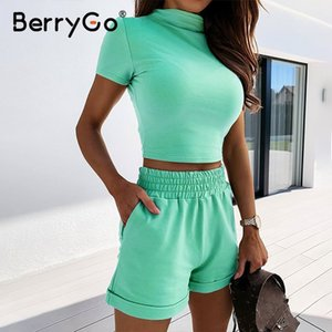 BerryGo Sexy turtleneck two-piece women shorts set Casual short sleeve womens tracksuit Tight female suits summer sport suit