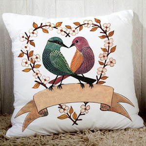 Lovely birds creative drawings sofa cushion cover fine polyester bedding pillowcase 45x45cm cartoon animals printed seat cushion