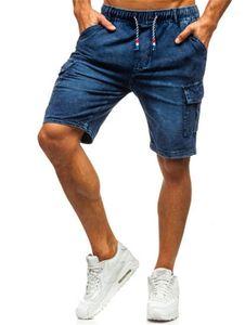 Yan Cepler ve Elastikli Kot Şort Yaz Designer ile Pantolon Düz Jean Şort Kot Casual Mens